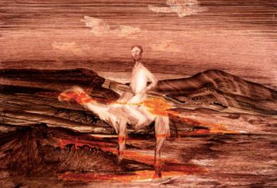 burke on camel in landscape