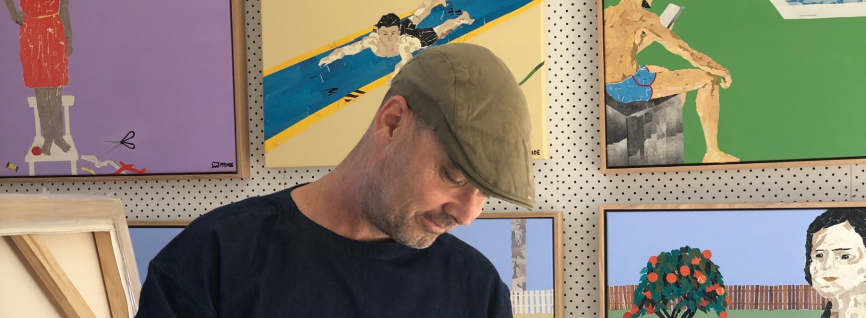 Artist Ray Monde in his studio