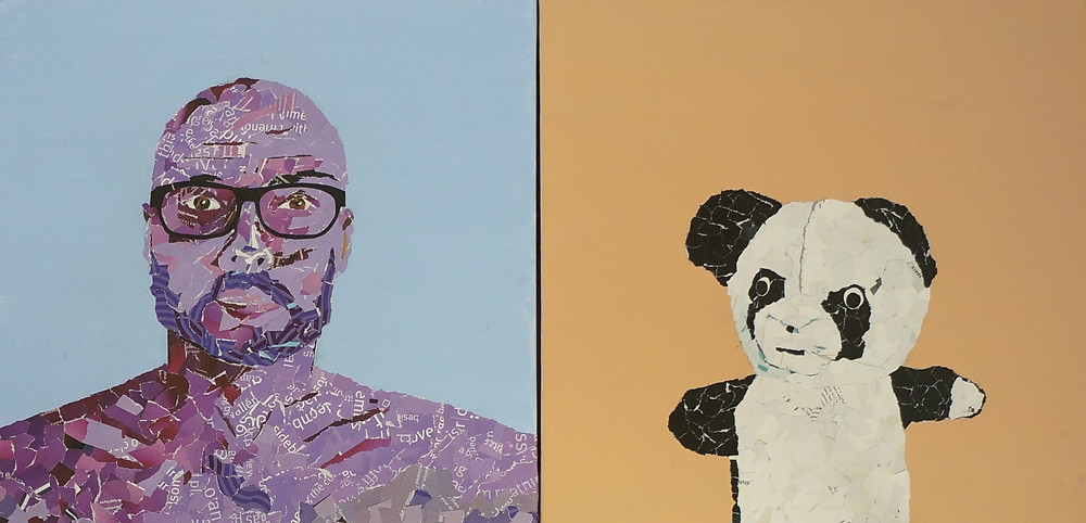 Collage of Ray Monde artist and his bear, Pandy