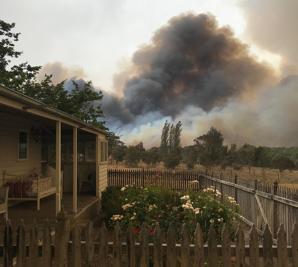 Fires burning around Ray Monde's house