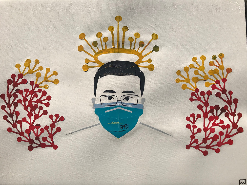 Collage by Ray Monde showing Dr Li Wenliang with crown of COVID-19