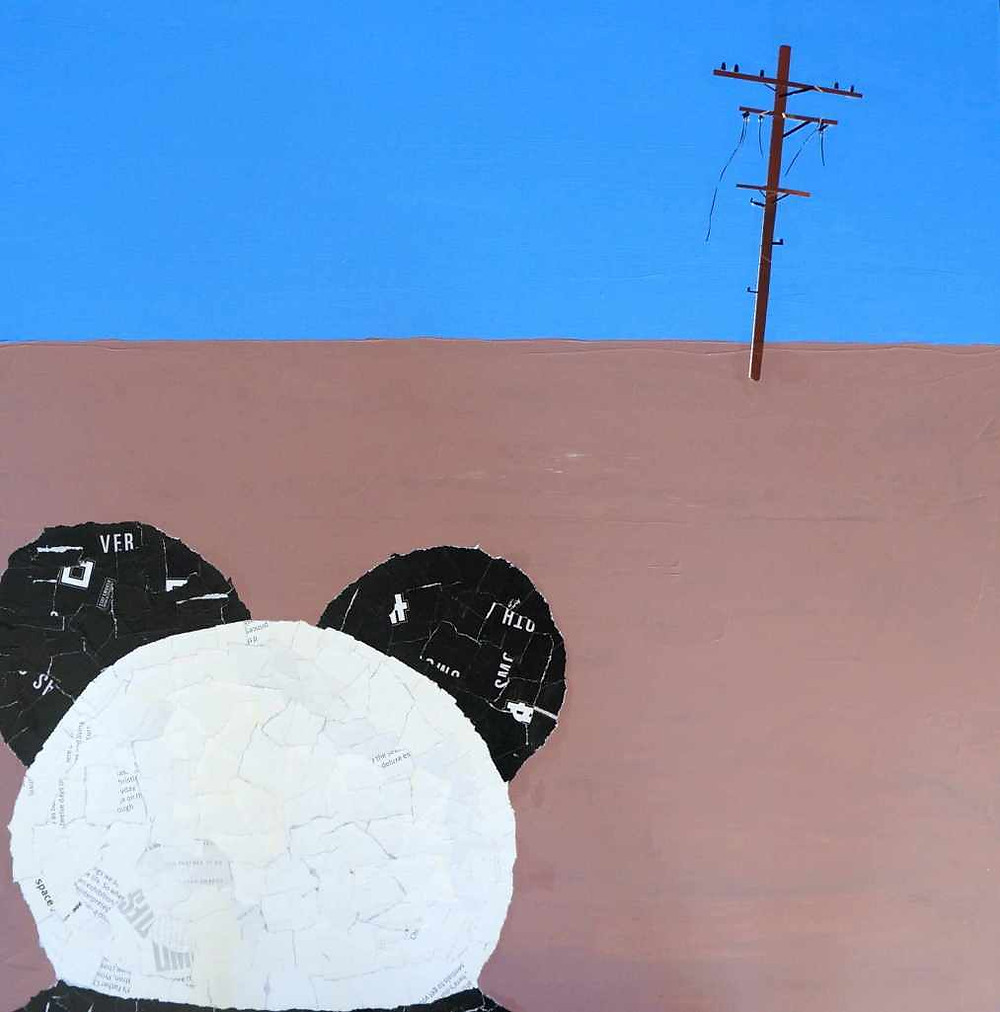 Empty, acrylic and paper on canvas, 2014