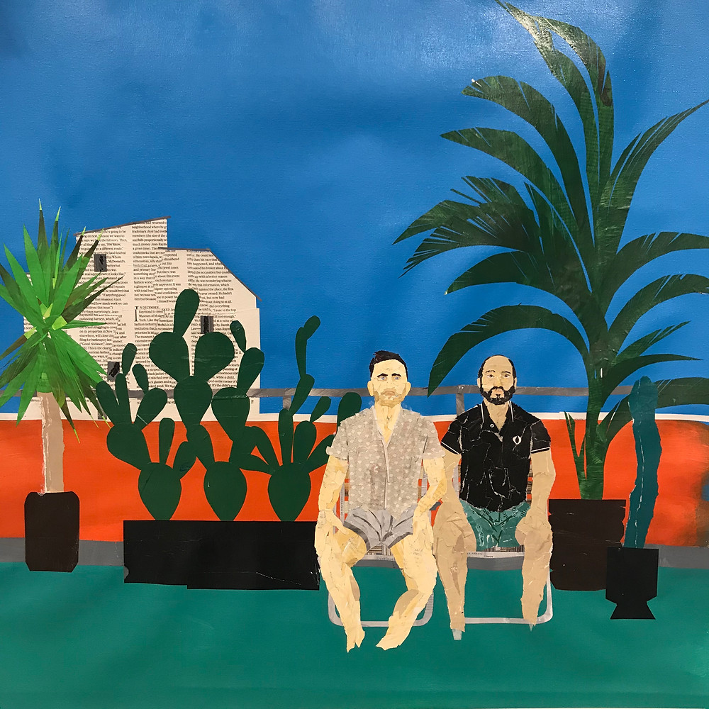 Work in progress image of two men on lawn chairs on their balcony by Ray Monde