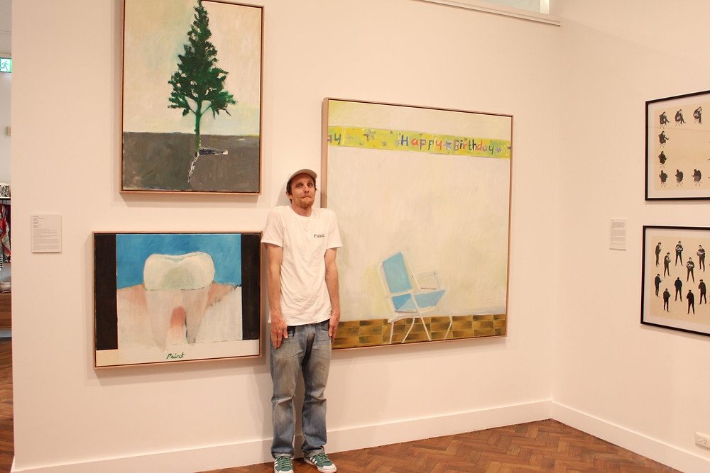 Nick Collerson with his artworks at Goulburn
