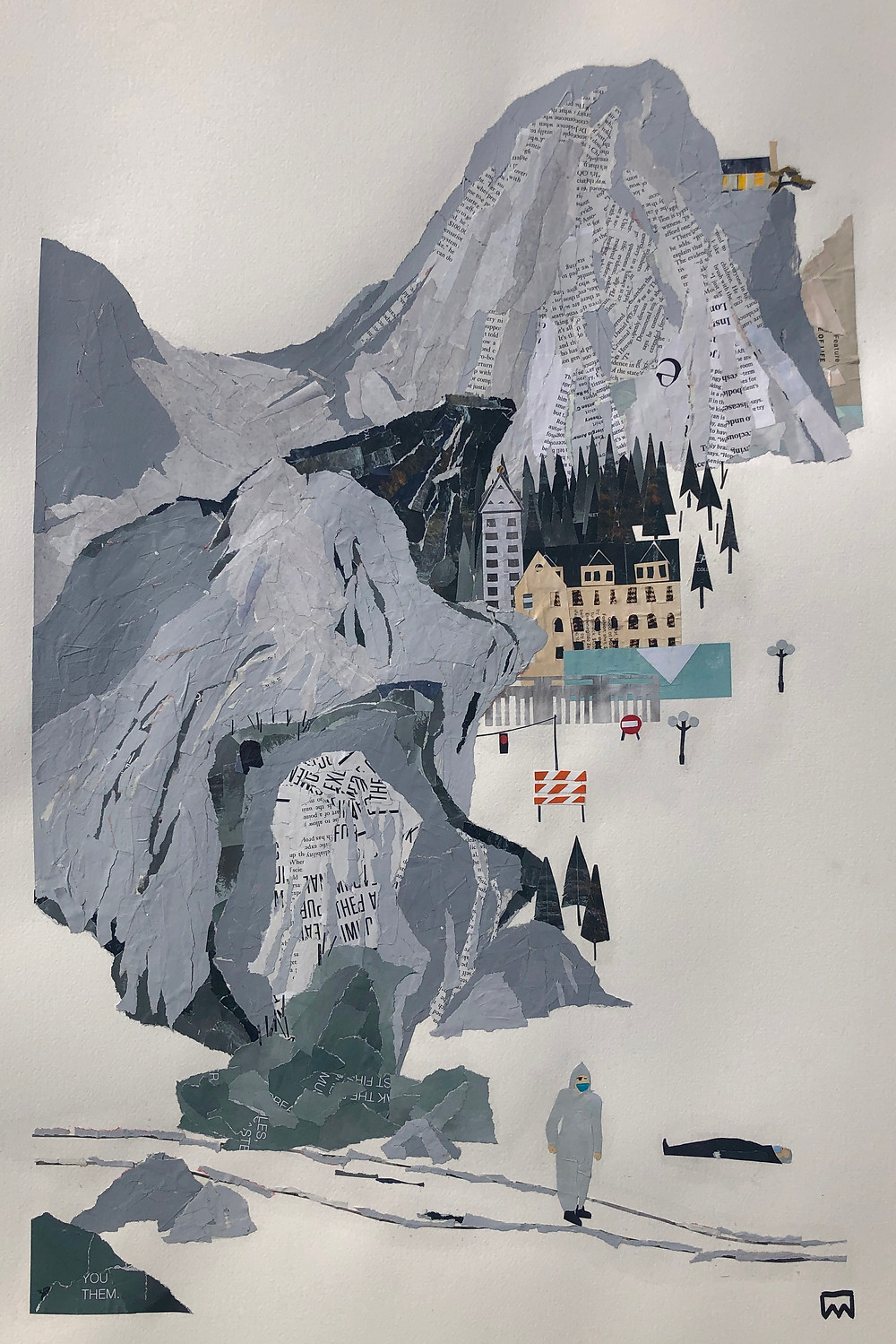 Artwork by Ray Monde of a Chinese landscape with a shuttered Seattle city