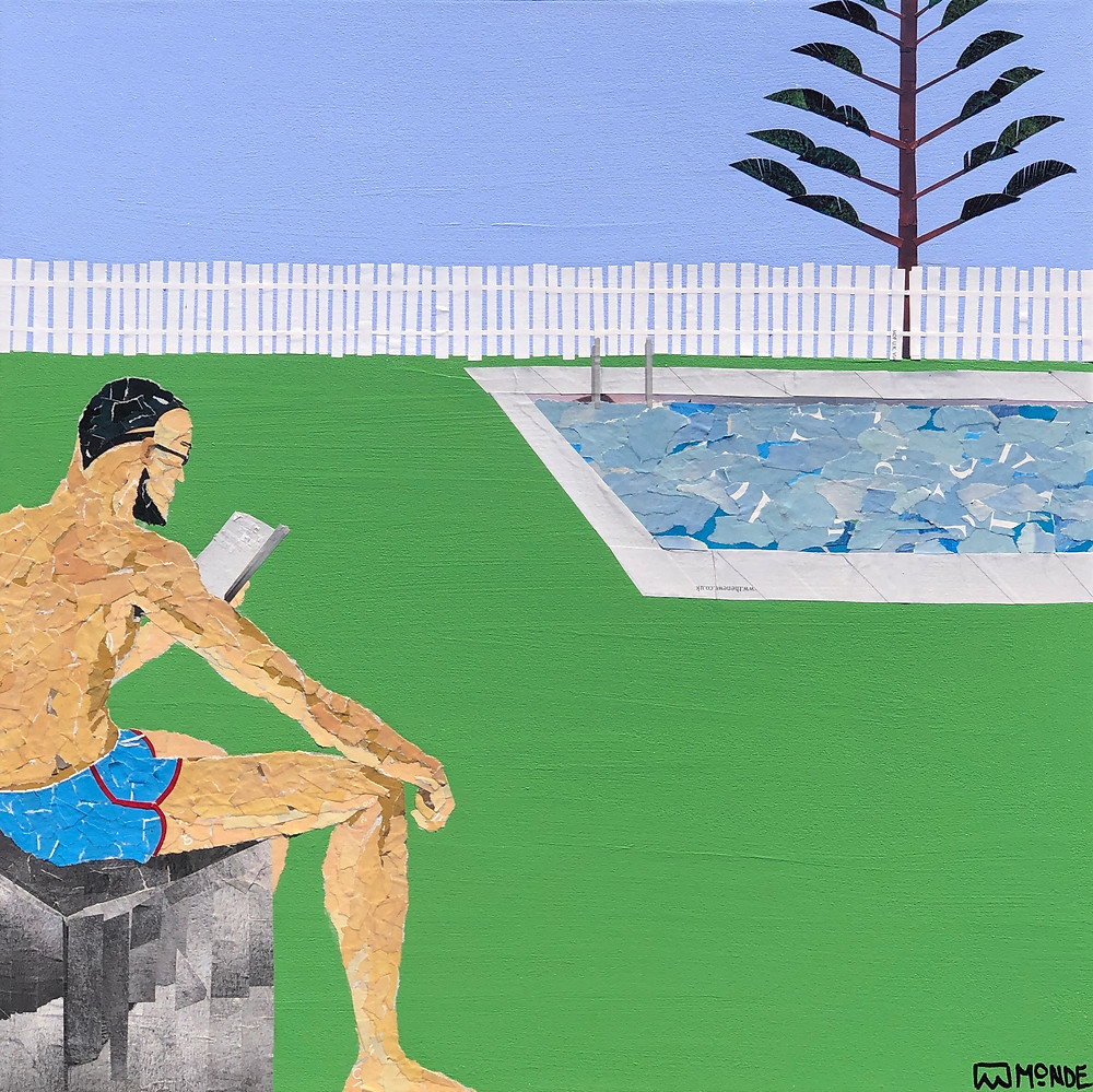 Art by Ray Monde of man reading by a swimming pool