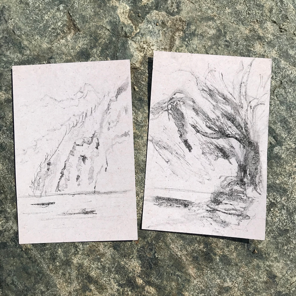 Two charcoal sketches of sharp-sided glacial valley by Ray Monde