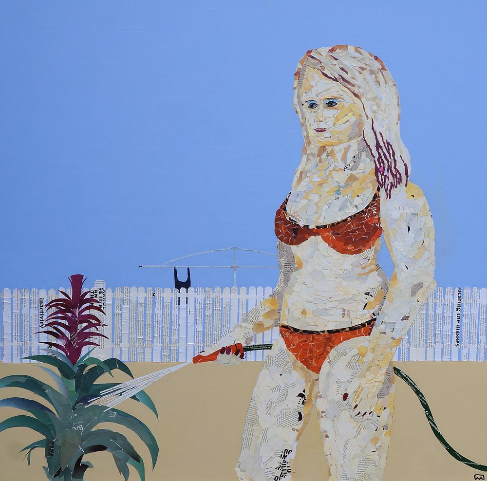 Woman in bikini watering bromeliad