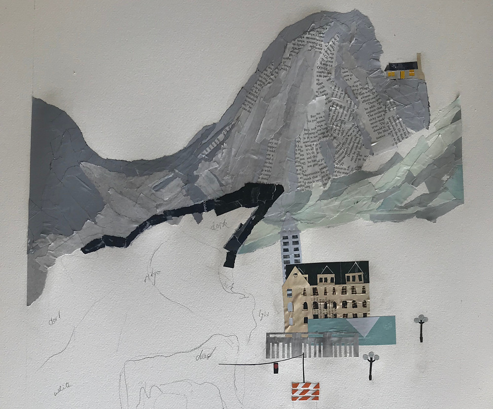 collage of chinese mountain and seattle by ray monde