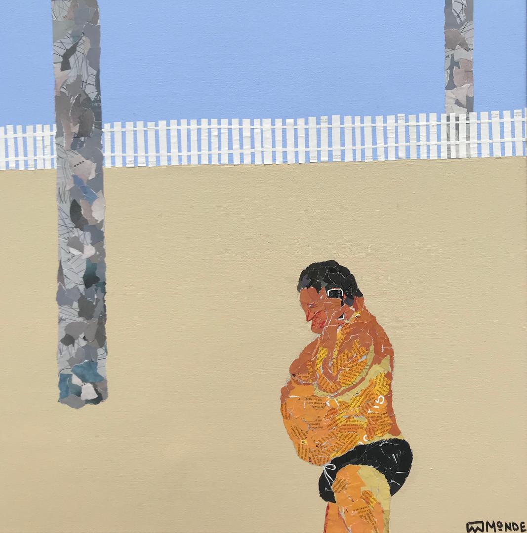 Smuggler Street, collage on canvas, framed, 62x62cm, Ray Monde, 2019