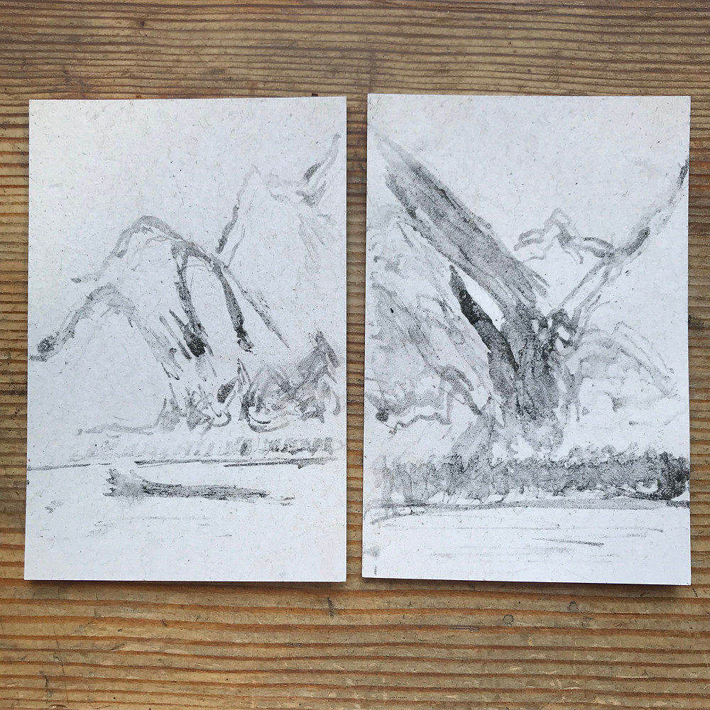 Charcoal sketches of mountains by Ray Monde