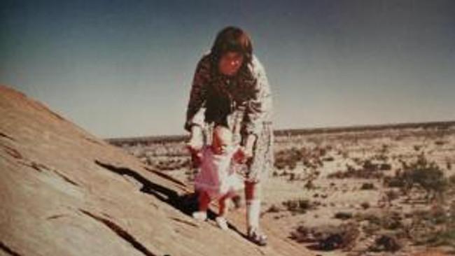 Lindy and Azaria on Uluru.