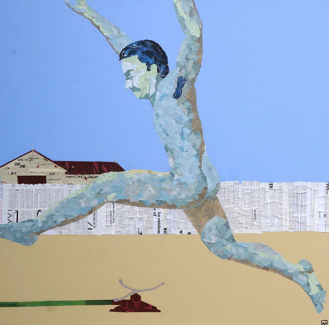 Rainbird Street, collage on canvas, framed, 100x100cm, Ray Monde, 2019