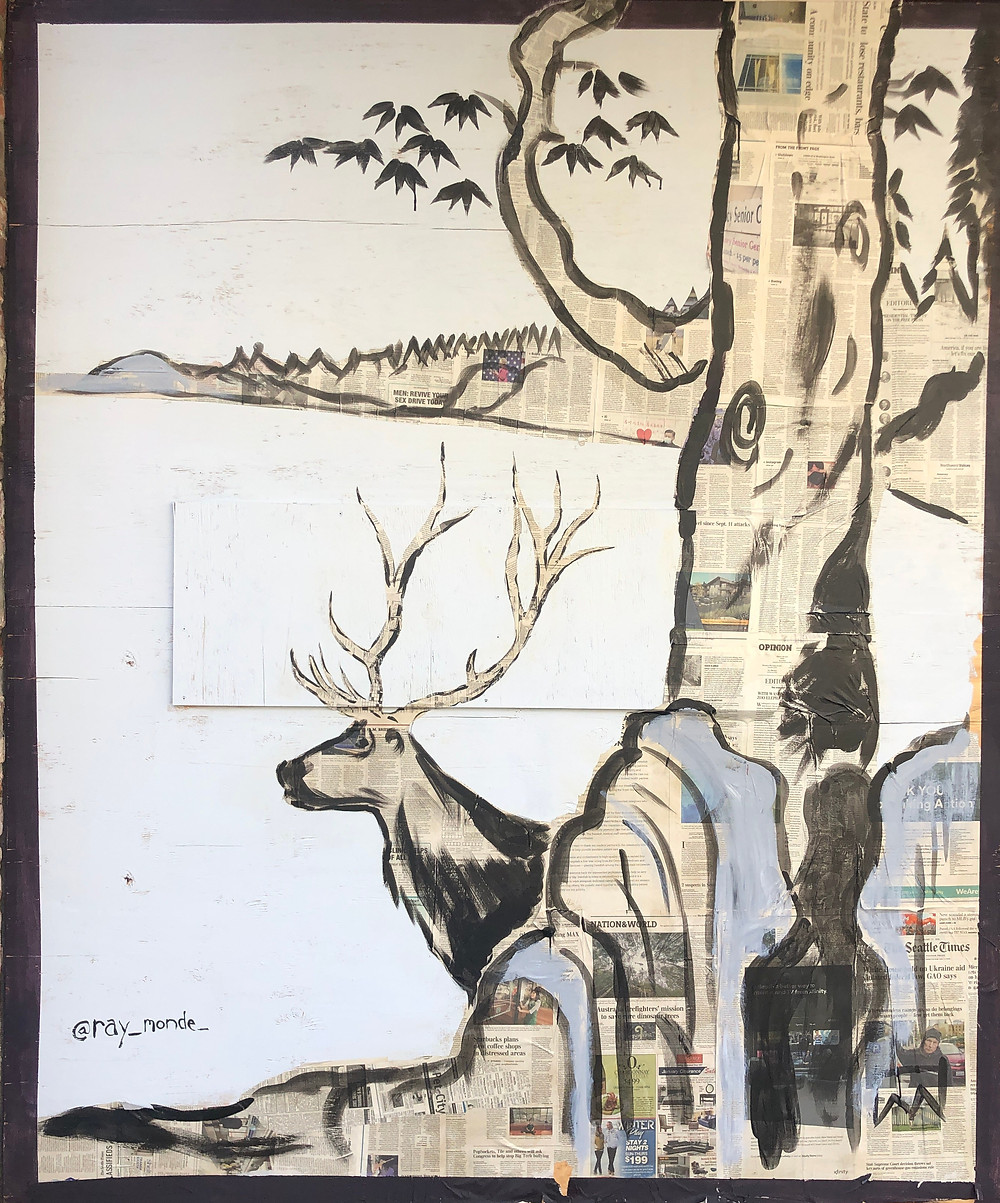 Paste-up by Ray Monde of elk and ancient pine tree