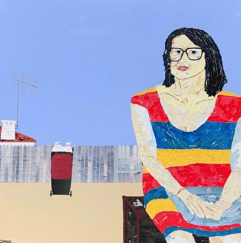 Dryandra Street, collage on canvas, framed, 100x100cm, Ray Monde, 2019