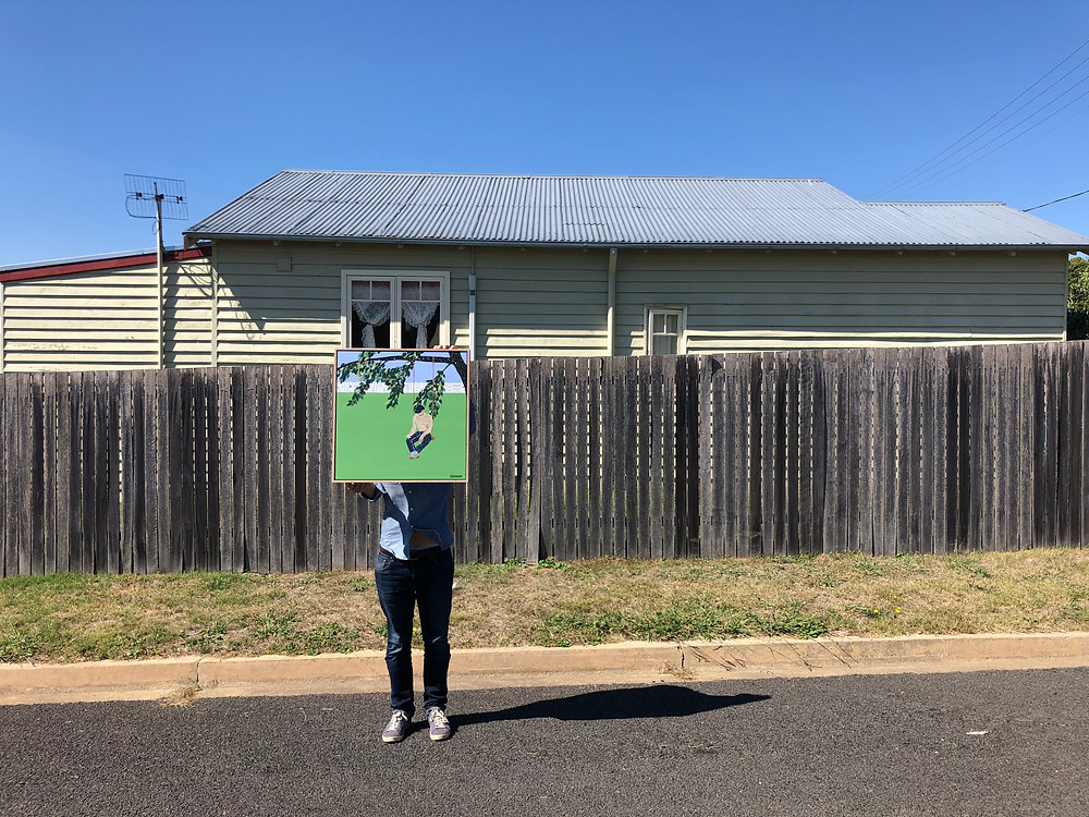 Ray Monde with artwork Woodwose Street on the streets of Braidwood