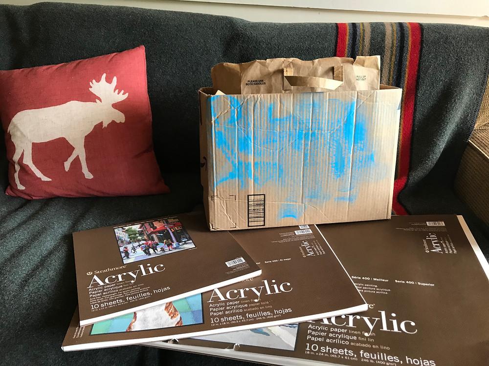 Cardboard box of art materials