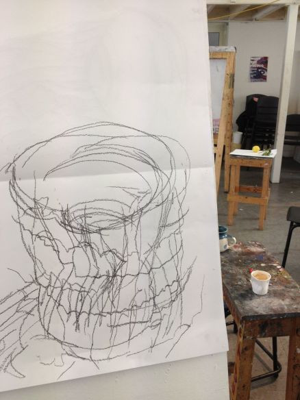 Hand drawing of a crushed coffee cup on an easel