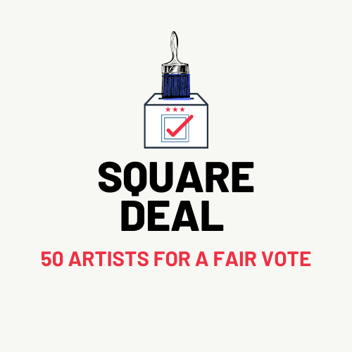 50 Artists for a Fair Vote Logo Revised Red Tick