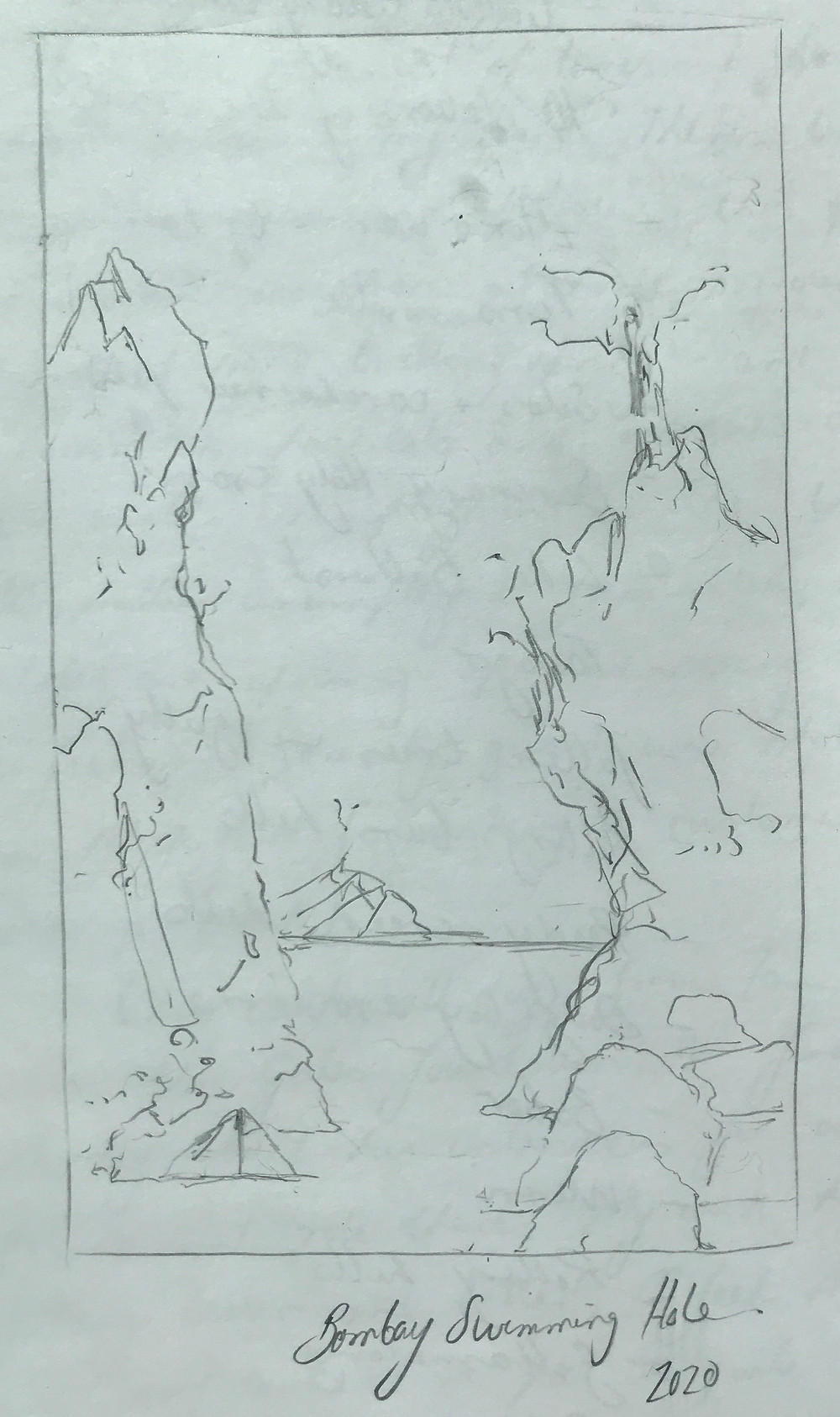Pencil sketch of towering rocks in a river by Ray Monde