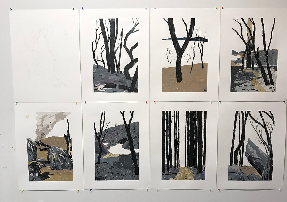 Bushfire artworks on Ray Monde's studio wall