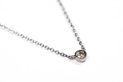 Single Bezel Silver Necklace