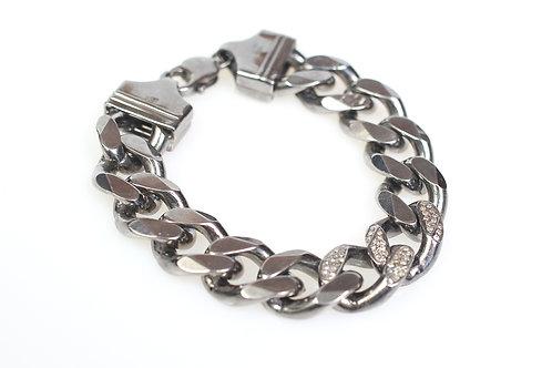 Sterling Silver and Pave Diamond Bracelet