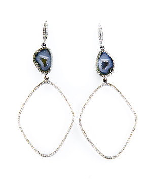 Geode & Pave Diamond Drop Earrings