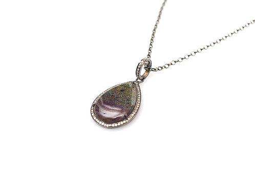 Opal and Pave Diamond Necklace