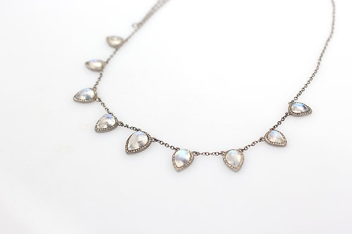 Moonstone Necklace with Pave Diamonds