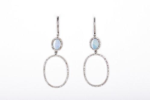 Opal on Oval Drop Earrings