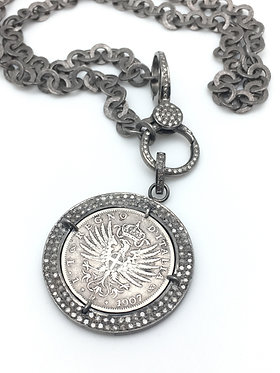 Lira Coin with Pave Diamonds
