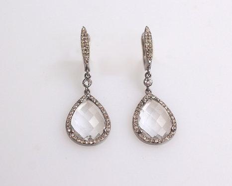 Clear Quartz & Diamond Earrings