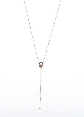 Rose Gold & Labradorite Lariat Necklace