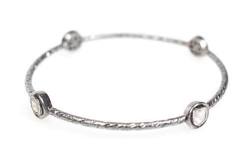 Sterling Silver Bangle with Rose Cut Diamonds