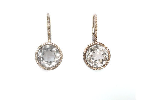 Quartz and Pave Diamond Earrings