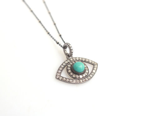 Turquoise and Diamond Evil Eye Necklace