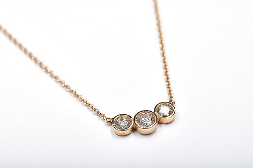 Triple Bezel Gold Necklace