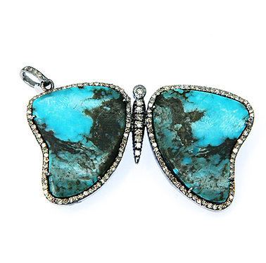 Turquoise & Pave Diamond Butterfly Pendant