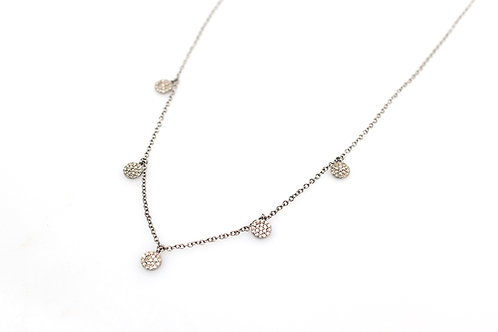 Sterling Silver Necklace with Diamond Orbs