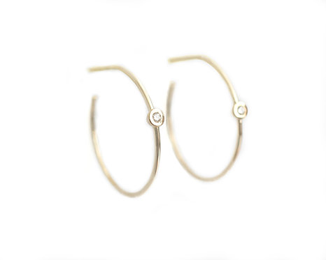 Gold & Bezel Set Diamond Earrings