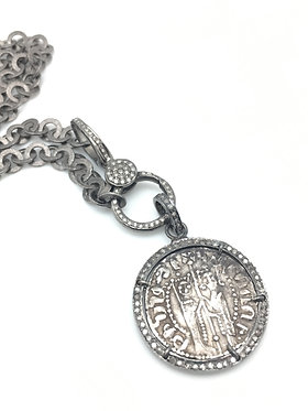 Armenian Coin with Double Sided Diamonds Pendant