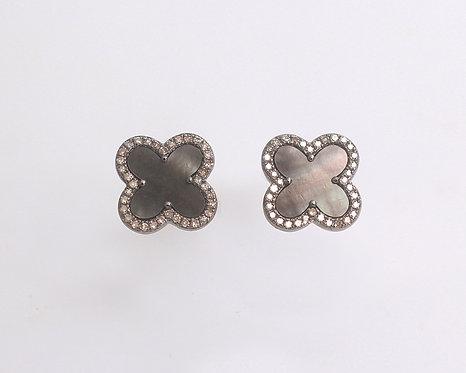 Mother of Pearl & Diamond Clover Earrings