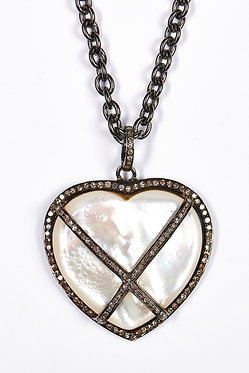 Mother of Pearl & Pave Diamond Pendant