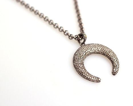 Pave Diamond Horn Necklace
