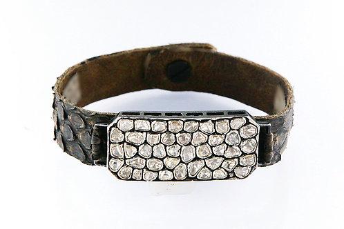 Rose-cut Diamond Bar & Snakeskin Bracelet