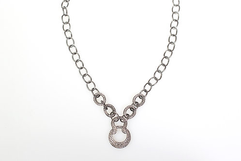 Pave Diamond and Sterling Silver Necklace