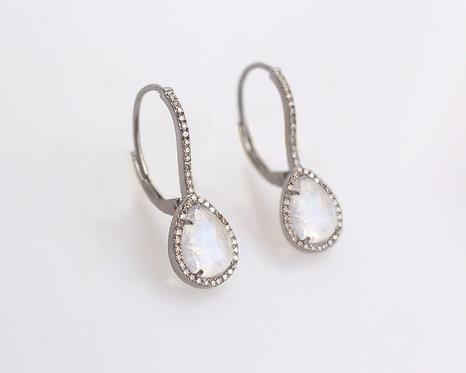 Moonstone & Pave Diamond Earrings