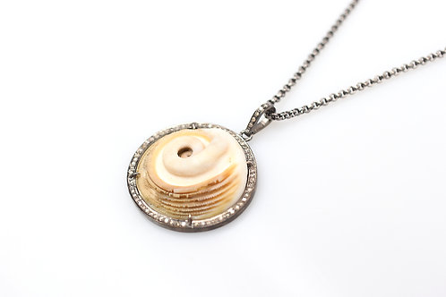 Ram Horns Shell Fossil Pendant with Pave Diamonds
