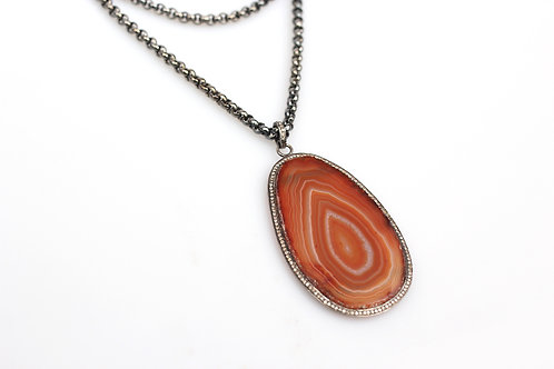 Rust Agate Pendant with Pave Diamonds